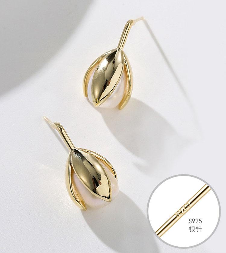 柔美鬱金香擬珍珠耳環
