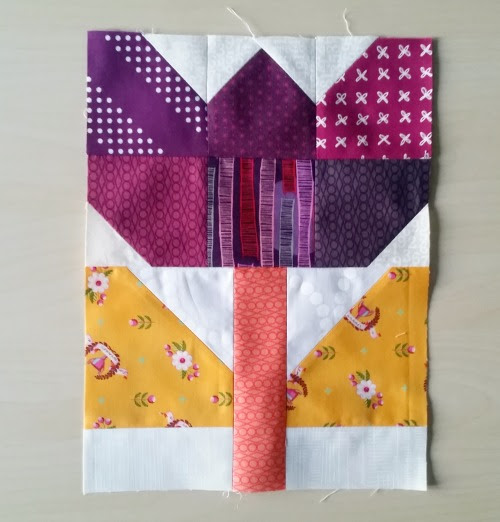 Patchwork Tulip Block