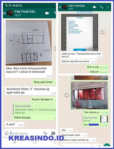Kusen Aluminium pesanan Bpk Fredi yang Ketiga di Proyek Fatmawati Jakarta
