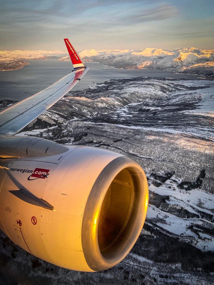 Norwegian aterrizando en las Islas Lofoten