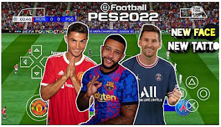 Download eFootball PES 2022 PPSSPP Update New Face And Tattoo Realistis & Latest Transfer