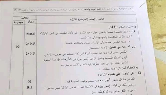 التصحيح الوزاري الرسمي اللغة العربية بكالوريا 2019 شعب علمية