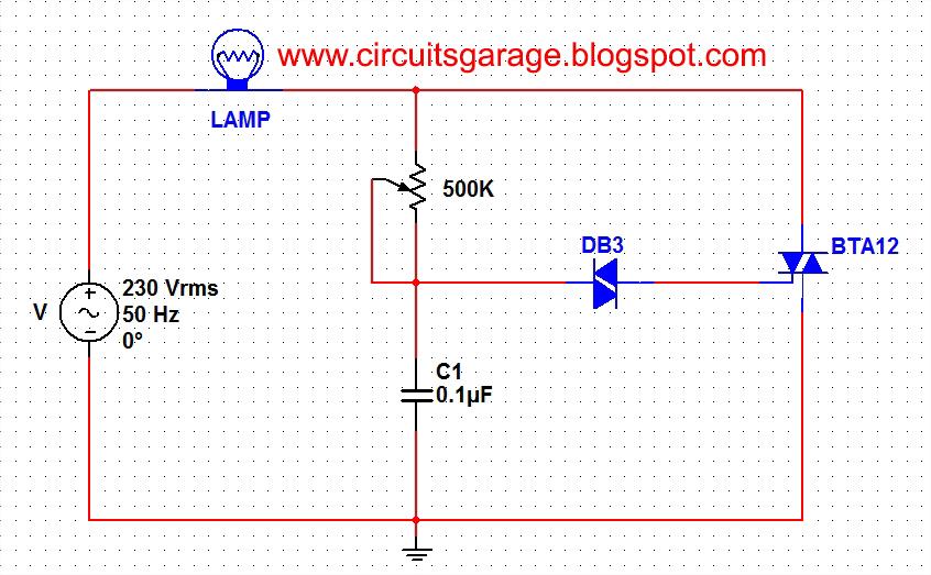 Light Dimmer Circuit  sc 1 st  Circuits Garage & Light dimmer circuit using DIAC and TRIAC ~ Circuits Garage