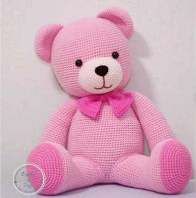 Розовый медвежонок крючком амигуруми