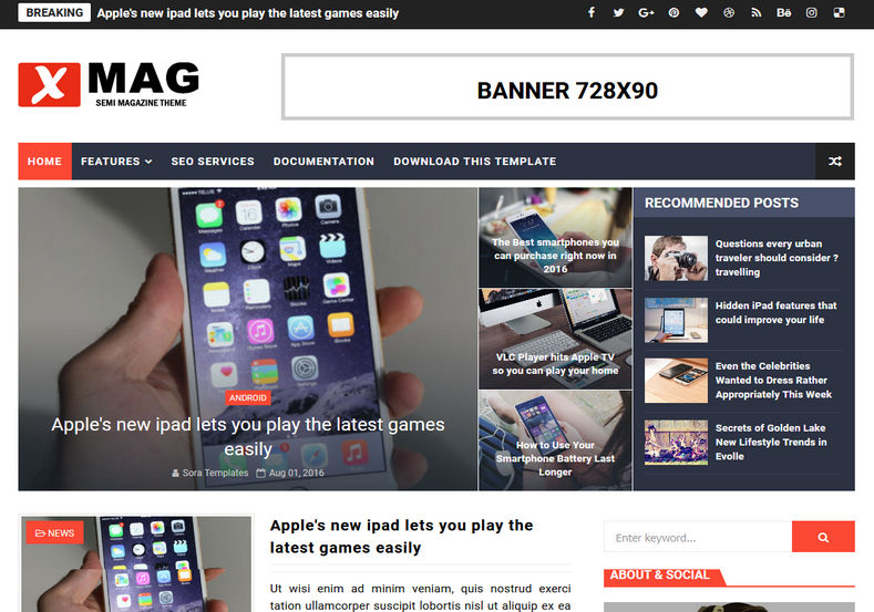 XMag Blogger Template Free Download, 5+ Most Used Best Free Blogger News Themes In 2021   Premium Responsive Blogger Templates