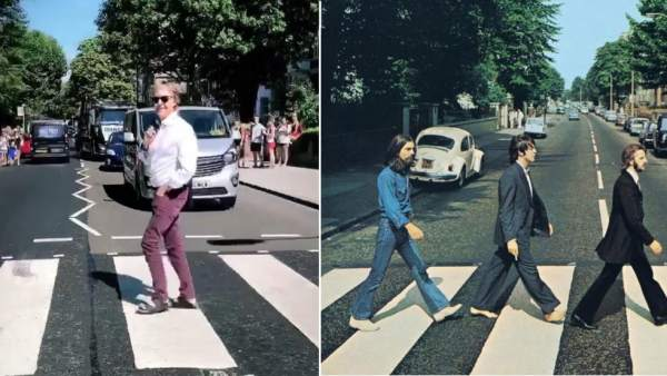 Paul McCartney, cruzando el mítico paso de cebra de Abbey Road