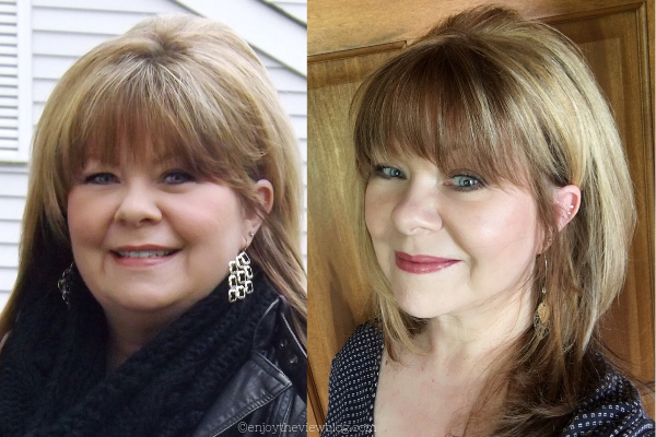 photos of woman's face before and after 20 lb. weight loss