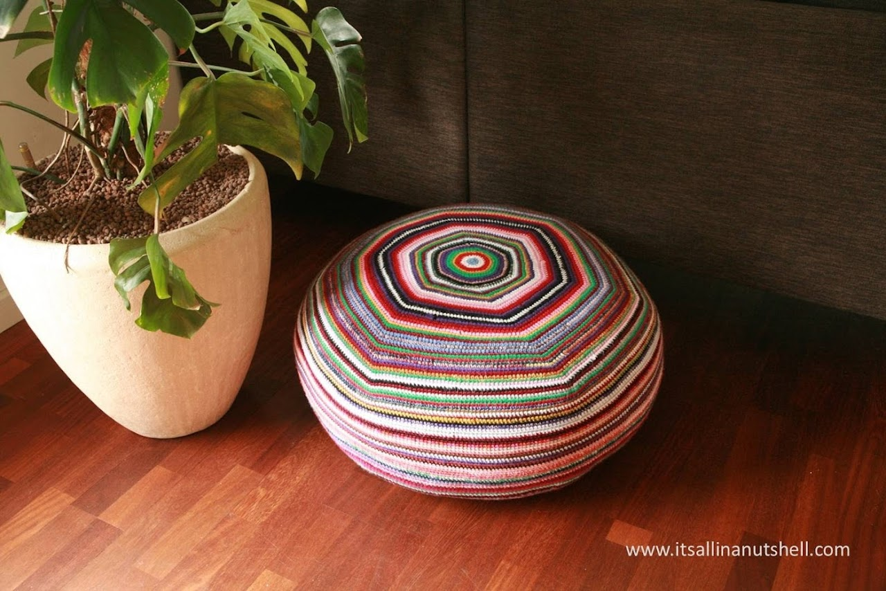 Stripey Pouf - free crochet pattern by It's All In A Nutshell