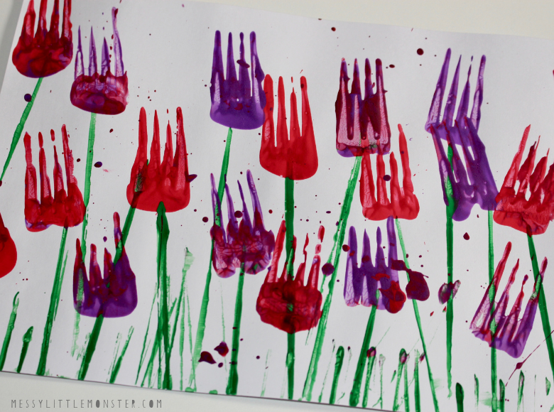 Fork painted flower painting for kids