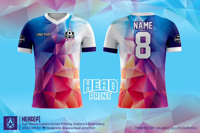 Polygon Color Jersey Full Print Custom - Head Print Jersey