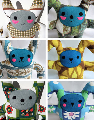 Vintage fabric monster toys