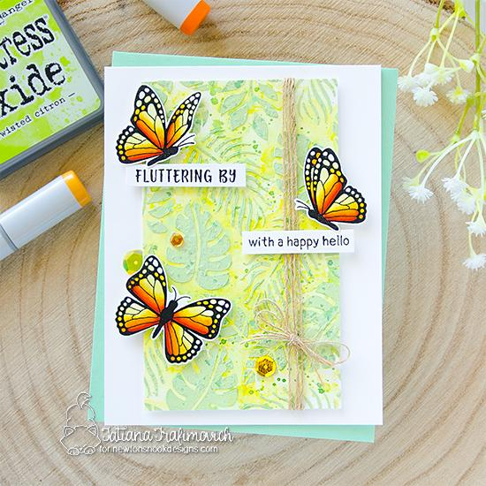 Butterfly Card by Tatiana Trafimovich  | Monarchs Stamp Set and Tropical Leaves Stencil by Newton's Nook Designs #newtonsnook #handmade