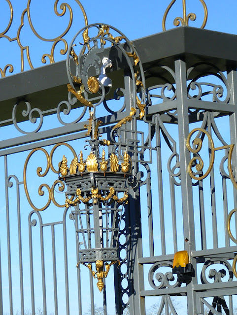 Detail of new wrought iron gate at the Chateau du Bois d'Aix.  Indre et Loire, France. Photographed by Susan Walter. Tour the Loire Valley with a classic car and a private guide.