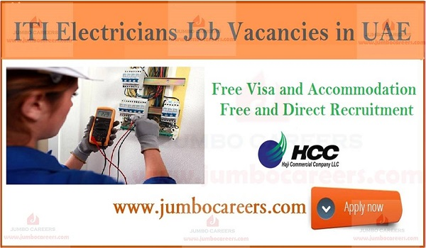 Electrician jobs in UAE with free visa and accommodation, UAE latest electrician job openings,