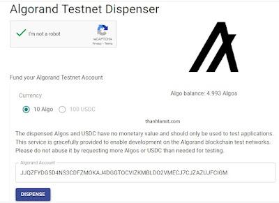 Nhận ALGO test net