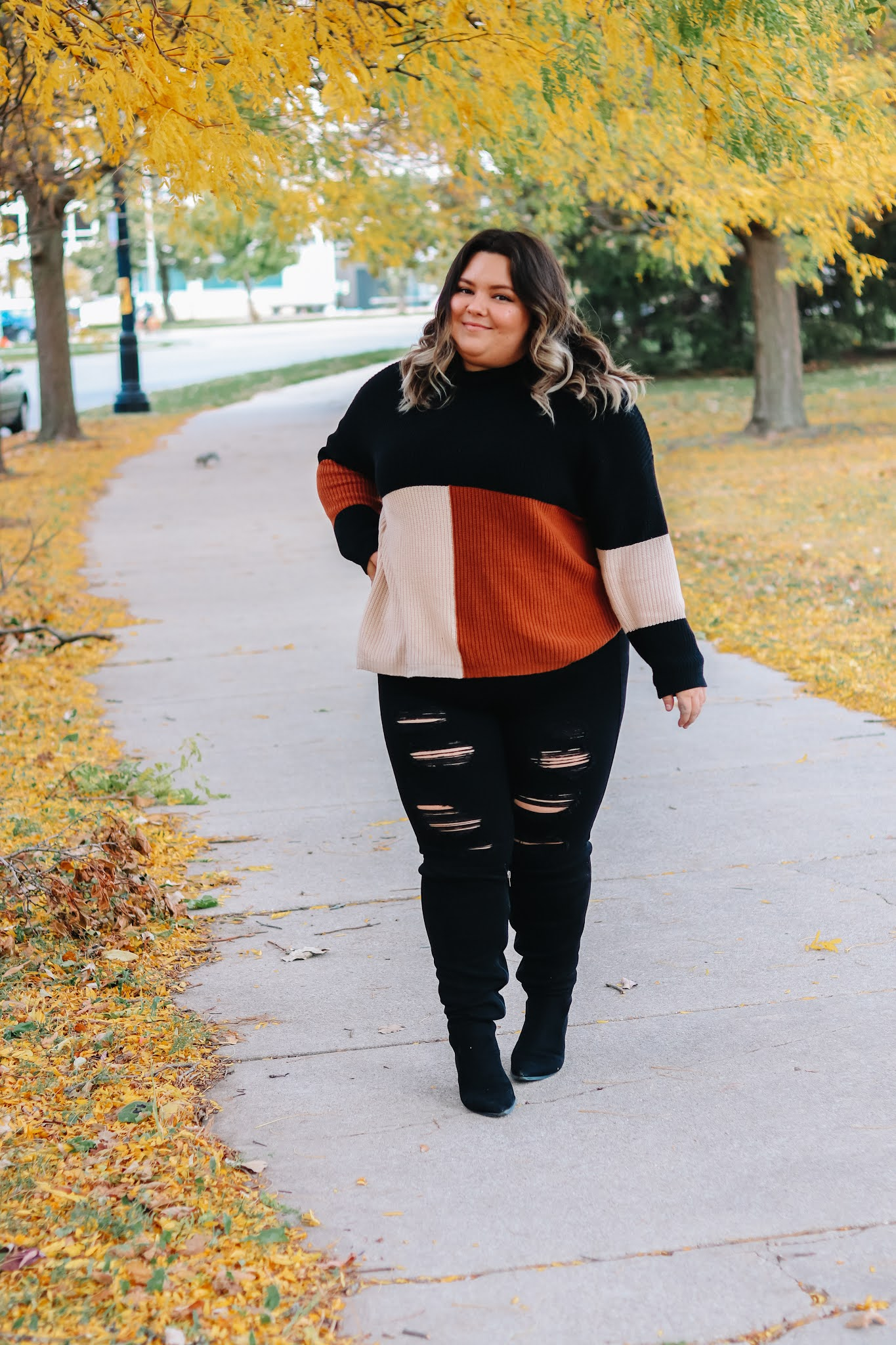 Chicago Plus Size Petite Fashion Blogger Natalie in the City knee high wide calf boots fall 2020 outfits