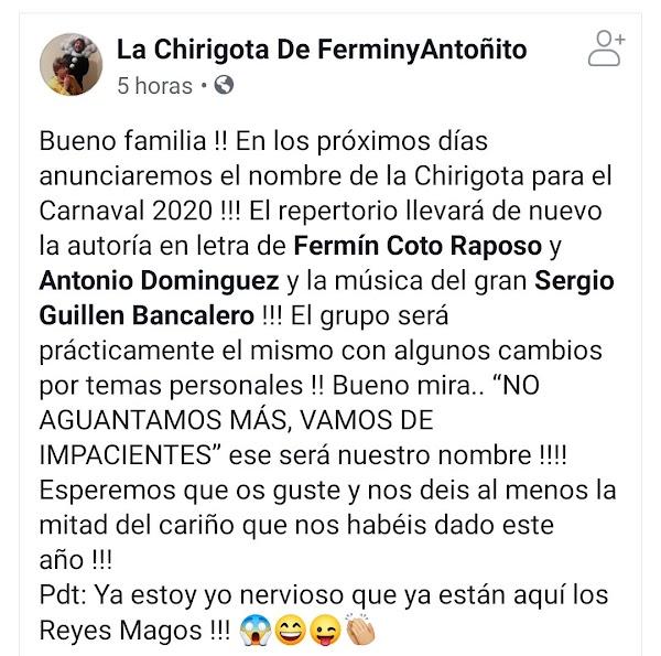 La chirigota de Puerto Real será en el 2020 No aguantamos mas, vamos de impaciente