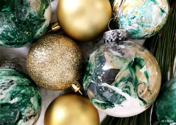 green marbled ornaments
