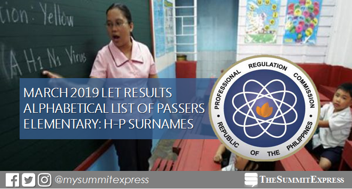LET Results March 2019 Elementary: H-P Passers