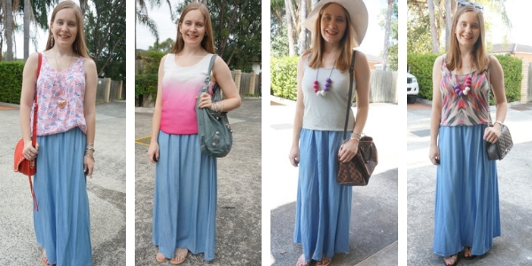 4 summer tank outfit ideas with chambray maxi skirt | away from blue