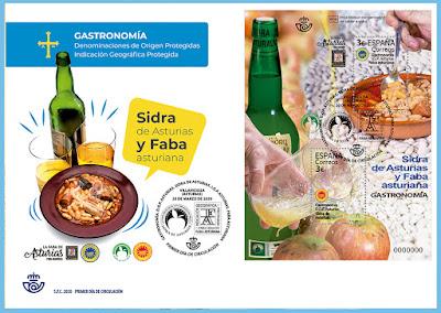 filatelia, sobre, matasellos, hoja bloque, sello, sidra, fabada, faba, Asturias