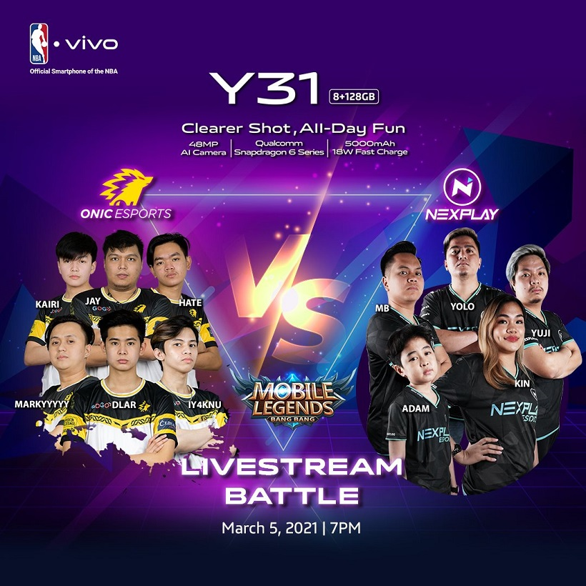 ONIC PH, Nexplay Esports to square off in Mobile Legends match powered by the vivo Y31
