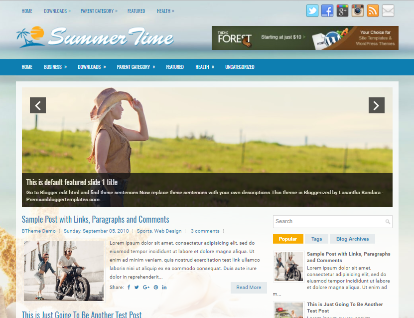 Columns Blogger Template for Travel Websites Free Download SummerTime