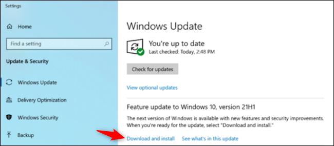 طريقة تثبيت تحديث Windows 10  مايو 2021 (21H1)