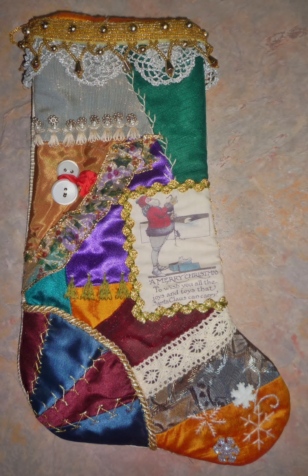 Crazy Quilt Stocking Pattern 108