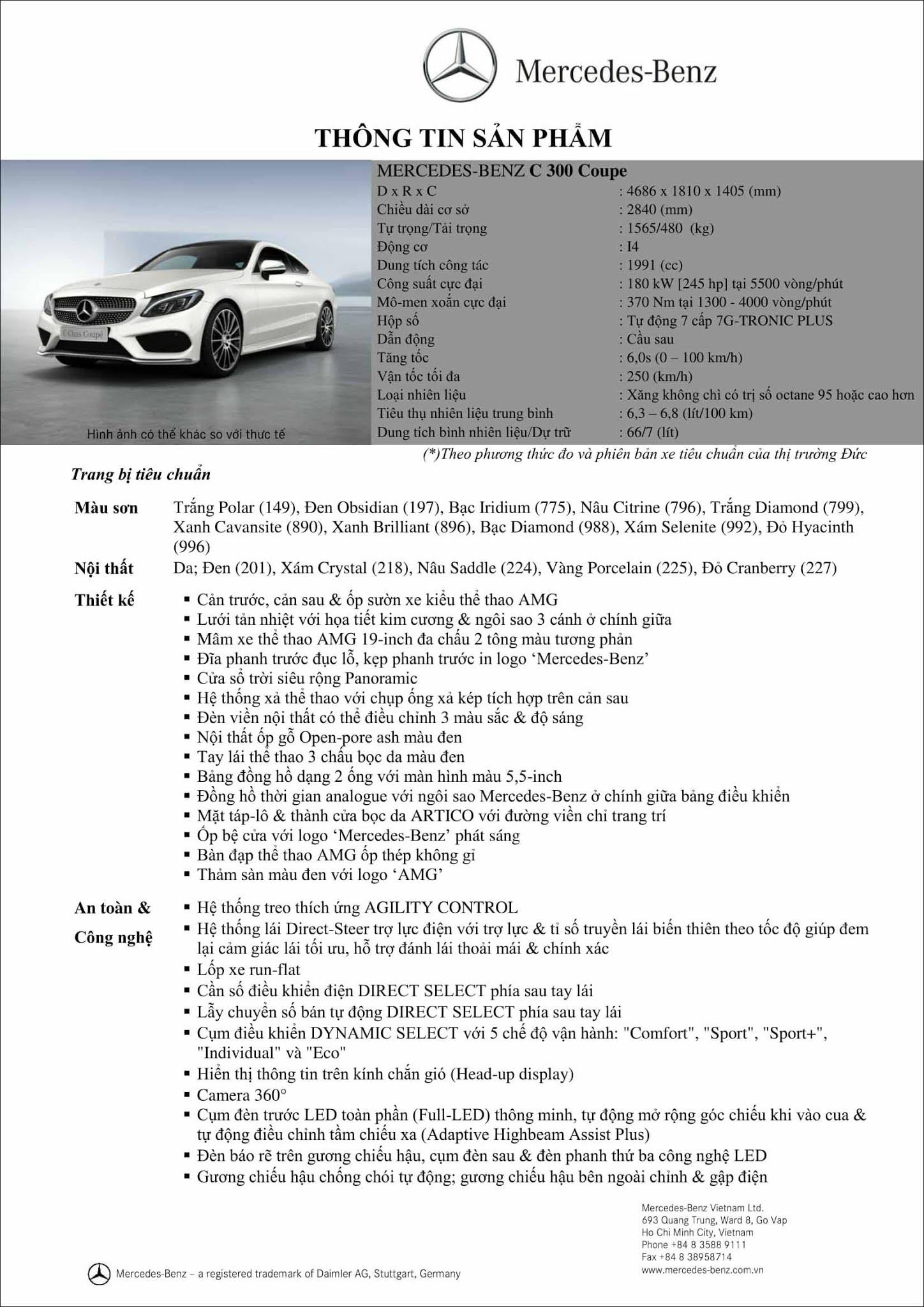 Bảng thông số kỹ thuật Mercedes C300 Coupe 2019 tại thị trường Việt Nam