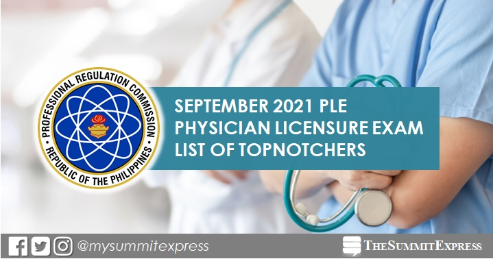 PLE RESULT: September 2021 Physician board exam top 10 passers