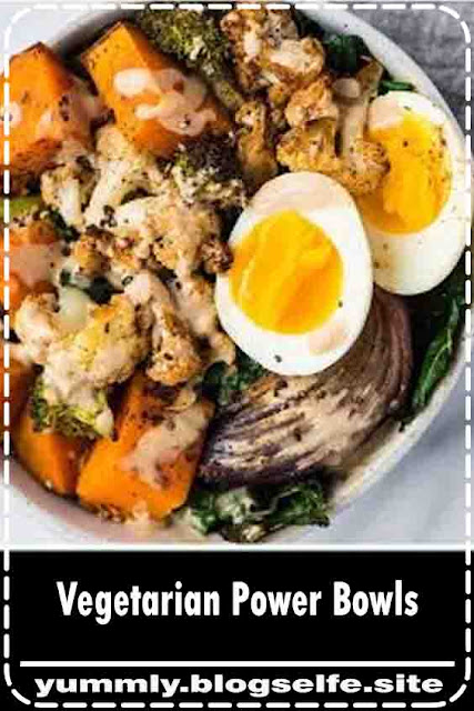 Vegetarian Power Bowls - Sam Best Food Recipes | Easy and healthy Vegetarian Power Bowl. Low carb, packed with roasted veggies, with a creamy and delicious dressing. Top with a soft boiled egg for a filling, high protein vegetarian meal! Dairy free, gluten free, grain free, and Paleo compliant. #sambestfood #paleo #glutenfree #vegetarian #healthyrecipe #mealideas