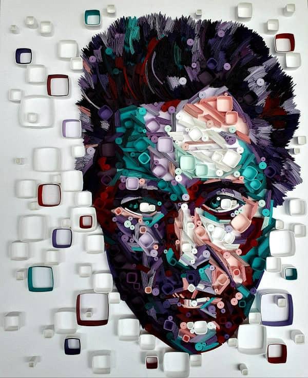quilled paper art portrait of Christopher Walken