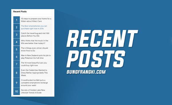 Modifikasi Recent Posts Blogger/Blogspot dengan Nomor