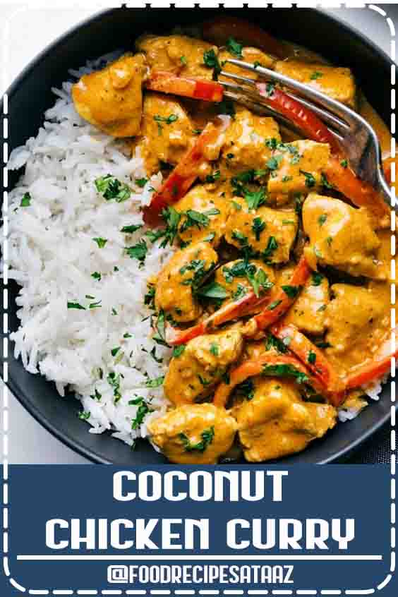 4.1 ★★★★★ | This coconut chicken curry is packed with delicious flavors and an easy one pot meal. This curry can be made in 30 minutes or less making it the perfect weeknight dinner! #HealthyDinnerRecipes #Asian #CleanEating