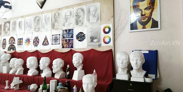 học vẽ khối H, luyện thi khối V, ngành kiến trúc, mỹ thuật công nghiệp, trang trí màu, vẽ đầu tượng