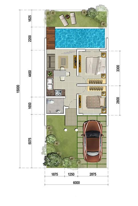 Denah rumah minimalis ukuran 6x15 meter dengan kolam