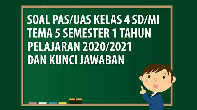 Soal PAS/UAS Kelas 4 SD/MI Tema 5 Semester 1 Tahun 2020
