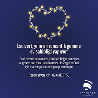 Lacivert Restaurant Sevgililer Günü Programı Menüsü 2020
