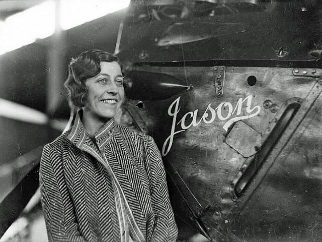British Pilot Amy Johnson with her plane named Jason