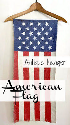 American flag hanging canvas pin