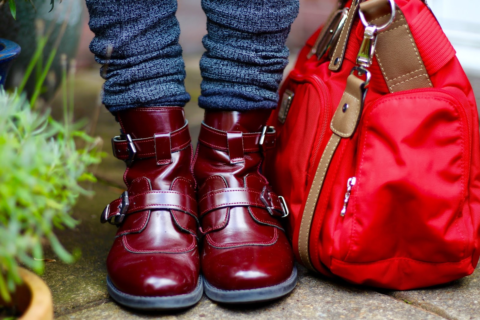 Fake Fabulous | Autumn style | Burgundy Boots & Tweed leggings.