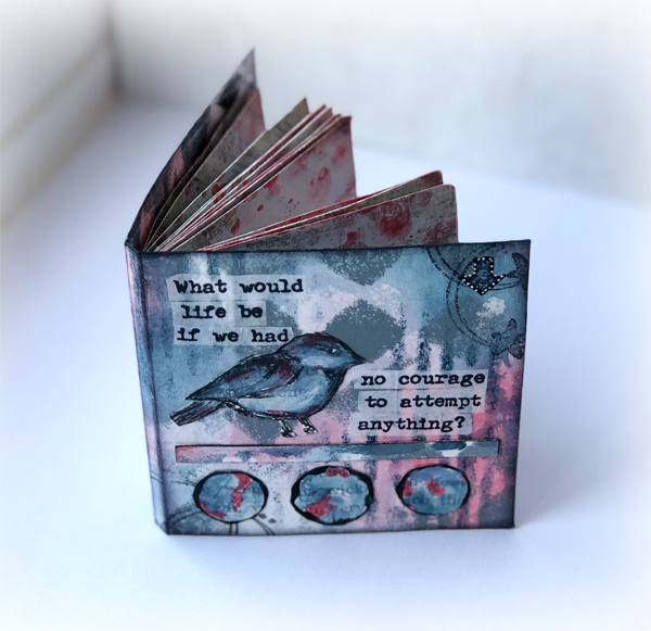 Mini Book using PaperArtsy Fresco Chalk Paints and Alison Bomber EAB08 stamp set by Nikki Acton