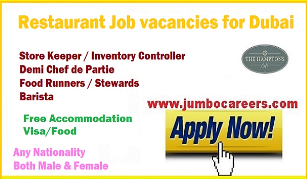 Restaurant Job Vacancies In Dubai With Free Visa