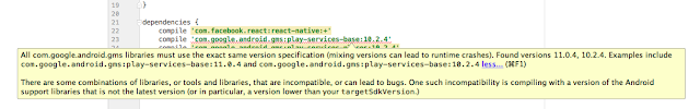 Android gms play service version conflict