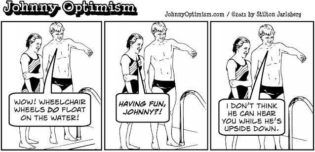 johnny optimism, medical, humor, sick, jokes, boy, wheelchair, doctors, hospital, stilton jarlsberg, summer, swim, pool, float, swimmers