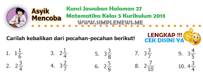 Kunci Jawaban Halaman 27 Matematika Kelas 5 Kurikulum 2013 www.simplenews.me