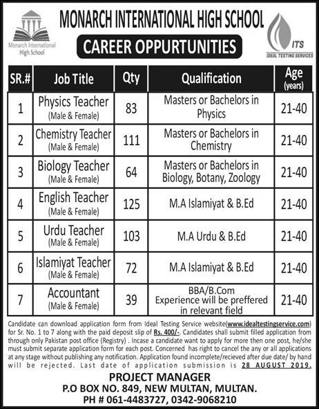 Jobs in Monarch International High School Teacher Jobs 2019 August