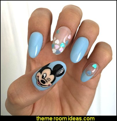 Mickey Mouse Hand Painted Gel Press On Nails    Minnie Mouse nail design ideas - Polka dot decorating - Mickey Mouse nail decals - Minnie Mouse nail art design ideas - Mickey Mouse Party decorations - party nails - cute nails - Disney themed nail art - minnie mouse nails -  Mickey Mouse nails