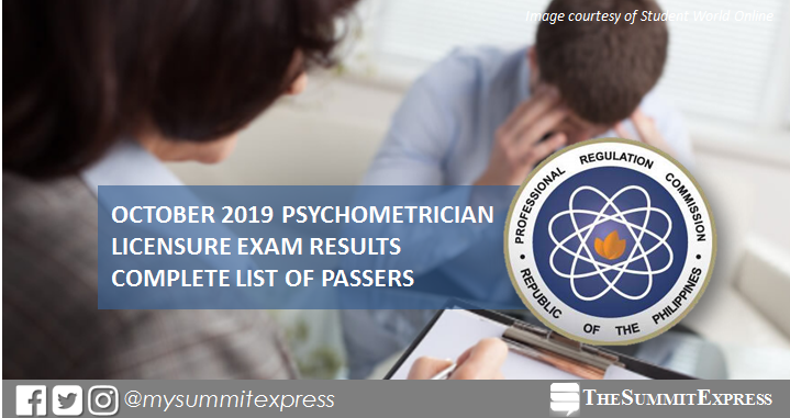 FULL RESULT: October 2019 Psychometrician board exam list of passers, top 10